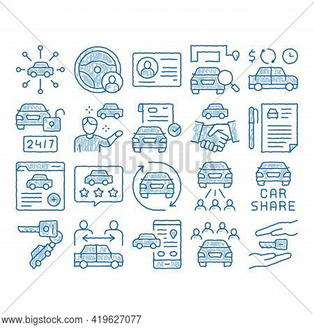 Car Sharing Business Sketch Icon Vector. Hand Drawn Blue Doodle Line Art Car Share Deal And Agreemen