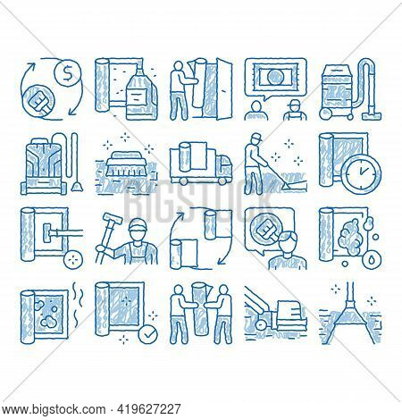 Carpet Cleaning Washing Service Sketch Icon Vector. Hand Drawn Blue Doodle Line Art Dusty And Dirty