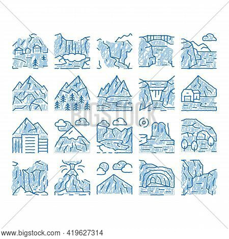 Mountain Landscape Sketch Icon Vector. Hand Drawn Blue Doodle Line Art Forest And Camping On Mountai
