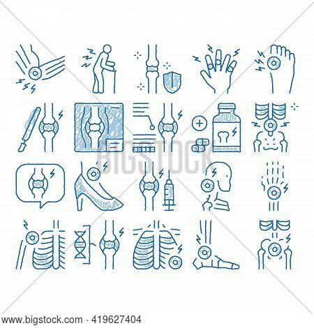 Arthritis Disease Sketch Icon Vector. Hand Drawn Blue Doodle Line Art Arthritis Symptoms And Treatme