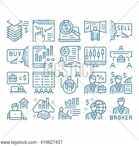 Broker Advice Business Sketch Icon Vector. Hand Drawn Blue Doodle Line Art Broker Businessman And Co