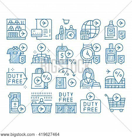 Duty Free Shop Store Sketch Icon Vector. Hand Drawn Blue Doodle Line Art Duty Free Nameplate And Pro
