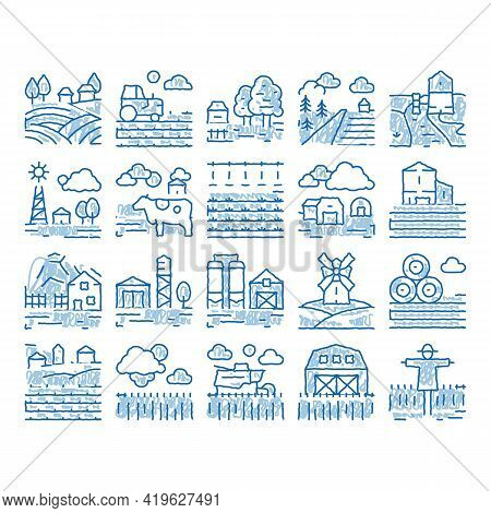 Farming Landscape Sketch Icon Vector. Hand Drawn Blue Doodle Line Art Farming Field And Barn Constru