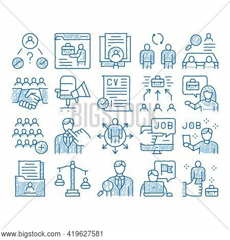 Recruitment And Research Employee Sketch Icon Vector. Hand Drawn Blue Doodle Line Art Curriculum Vit