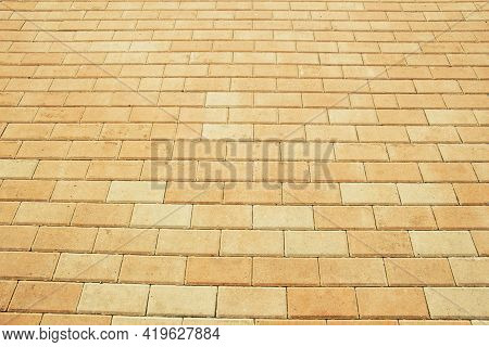 Texture Of Rectangular Paving Stones, Uneven Masonry With Defects, Red Color