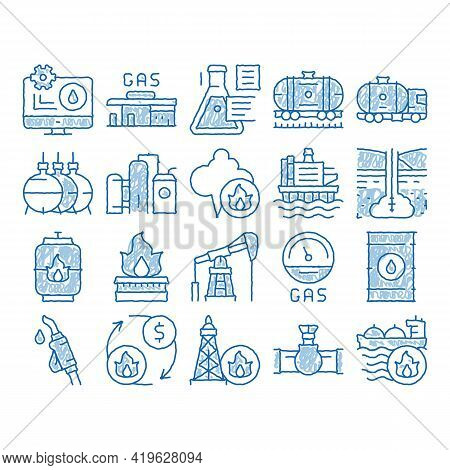 Gas Fuel Industry Sketch Icon Vector. Hand Drawn Blue Doodle Line Art Gas Truck Cargo Delivery And C