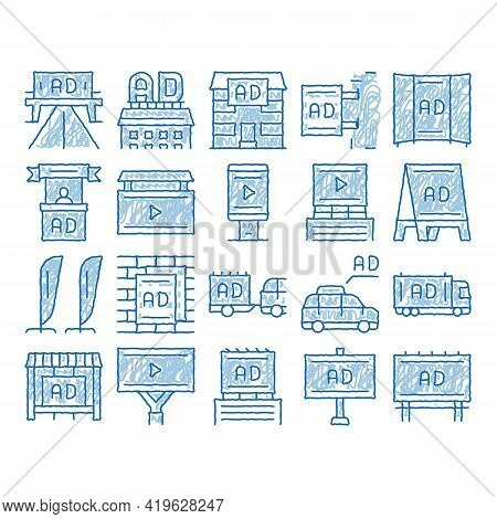 Outdoor Media Advertising Promo Sketch Icon Vector. Hand Drawn Blue Doodle Line Art Advertising Bill