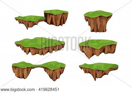 Set Flying Islands With Ground And Grass Isolated On White Background, Detailed In Cartoon Style. Ui