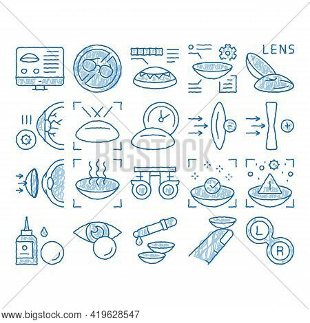 Contact Lens Accessory Sketch Icon Vector. Hand Drawn Blue Doodle Line Art Contact Lens On Finger, E