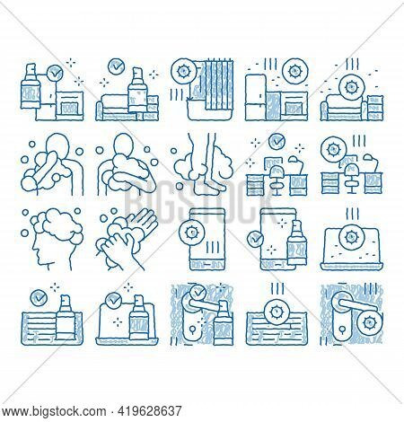Hygiene And Healthcare Sketch Icon Vector. Hand Drawn Blue Doodle Line Art Cleaning Mobile Phone And
