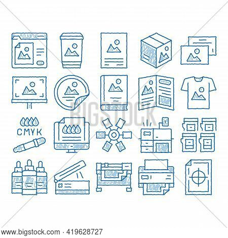 Polygraphy Printing Service Sketch Icon Vector. Hand Drawn Blue Doodle Line Art Polygraphy And Scann