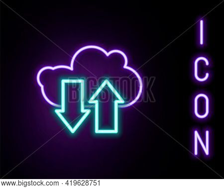Glowing Neon Line Cloud Download And Upload Icon Isolated On Black Background. Colorful Outline Conc