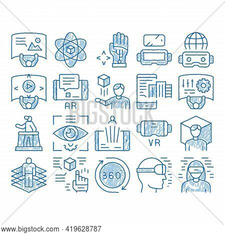 Simulation Equipment Sketch Icon Vector. Hand Drawn Blue Doodle Line Art Virtual Reality Vr Glasses