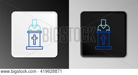 Line Church Pastor Preaching Icon Isolated On Grey Background. Colorful Outline Concept. Vector