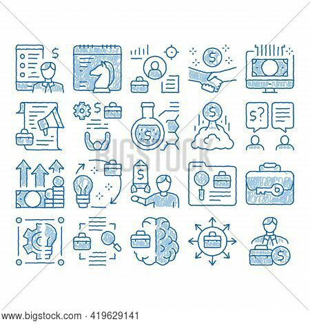 Entrepreneur Business Sketch Icon Vector. Hand Drawn Blue Doodle Line Art Entrepreneur Businessman A