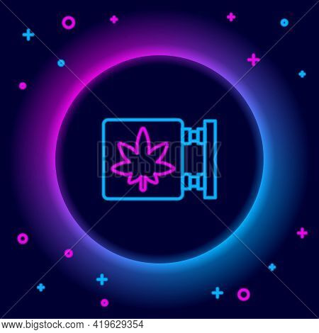 Glowing Neon Line Marijuana And Cannabis Store Icon Isolated On Black Background. Equipment And Acce