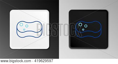 Line Sponge Icon Isolated On Grey Background. Wisp Of Bast For Washing Dishes. Cleaning Service Conc