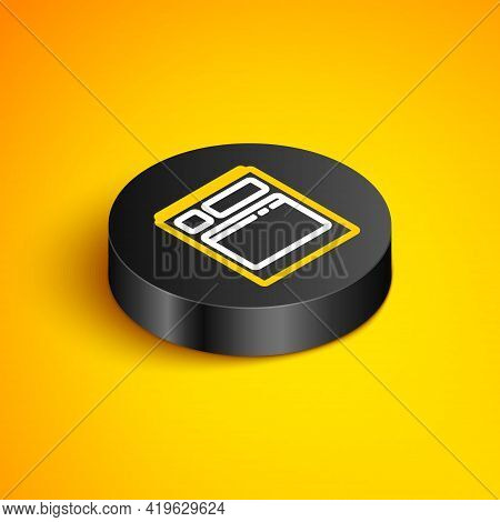 Isometric Line Kitchen Dishwasher Machine Icon Isolated On Yellow Background. Black Circle Button. V