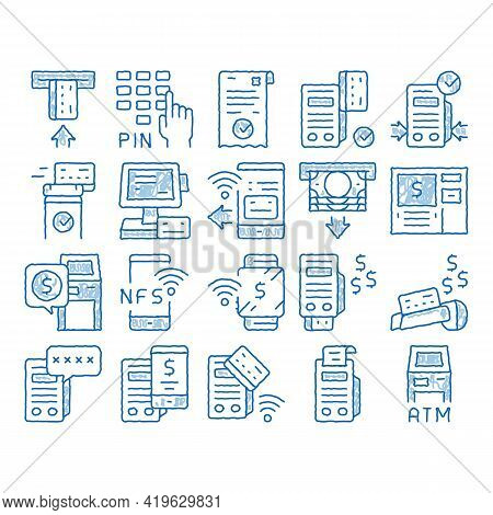 Pos Terminal Device Sketch Icon Vector. Hand Drawn Blue Doodle Line Art Bank Terminal And Atm, Smart