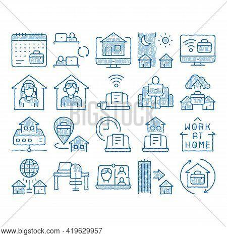 Remote Work Freelance Sketch Icon Vector. Hand Drawn Blue Doodle Line Art Work At Home, Internet Job