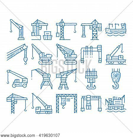 Crane Building Machine Sketch Icon Vector. Hand Drawn Blue Doodle Line Art Crane Port Construction F