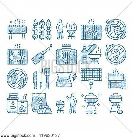 Bbq Barbecue Cooking Sketch Icon Vector. Hand Drawn Blue Doodle Line Art Bbq Fried Meat And Shrimp,