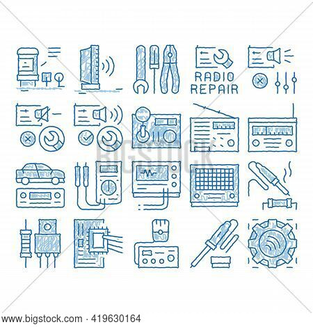 Radio Repair Service Sketch Icon Vector. Hand Drawn Blue Doodle Line Art Radio Repair Electronic And