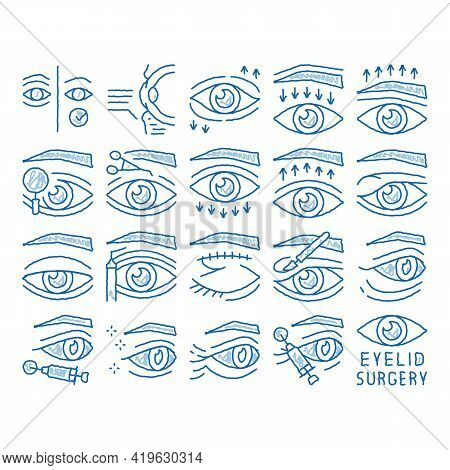 Eyelid Surgery Healthy Sketch Icon Vector. Hand Drawn Blue Doodle Line Art Eyelid Surgery Blepharopl