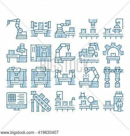 Manufacturing Process Sketch Icon Vector. Hand Drawn Blue Doodle Line Art Manufacturing Conveyor Car