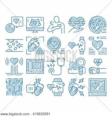 Hypertension Disease Sketch Icon Vector. Hand Drawn Blue Doodle Line Art Hypertension Ill And Treatm
