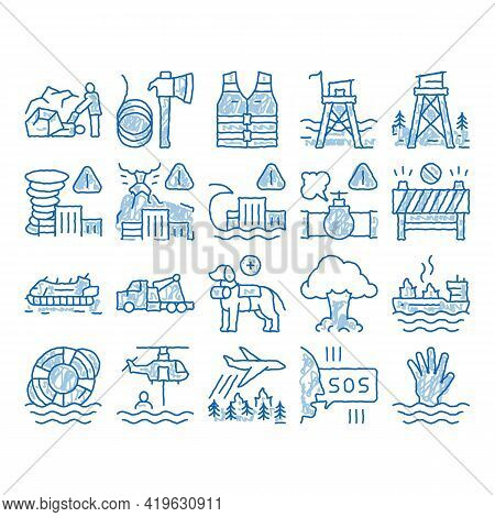 Rescuer Equipment Sketch Icon Vector. Hand Drawn Blue Doodle Line Art Rescue Dog And Truck, Helicopt