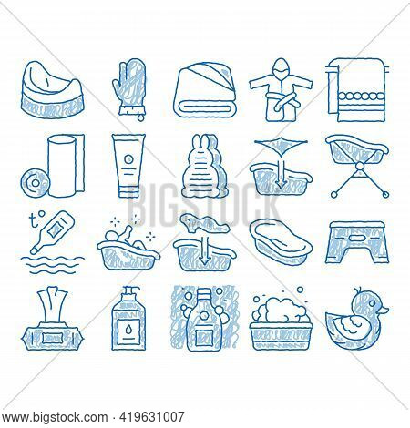 Bathing Baby Tool Sketch Icon Vector. Hand Drawn Blue Doodle Line Art Towel And Bathrobe, Bath Therm