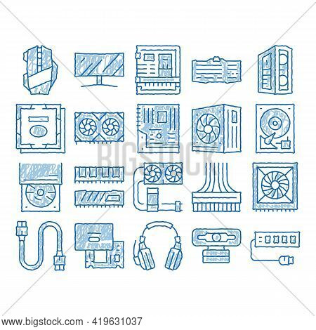 Computer Technology Sketch Icon Vector. Hand Drawn Blue Doodle Line Art Computer Mouse And Keyboard,