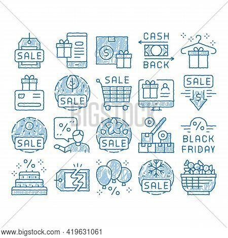 Cost Reduction Sale Sketch Icon Vector. Hand Drawn Blue Doodle Line Art Winter And Summer Seasonal C