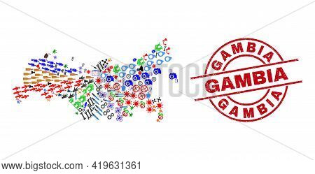 Russia Map Collage And Dirty Gambia Red Circle Stamp Imitation. Gambia Badge Uses Vector Lines And A