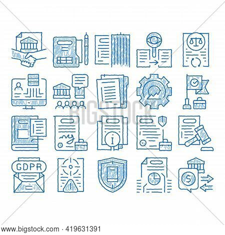 Policies Data Process Sketch Icon Vector. Hand Drawn Blue Doodle Line Art Document And Paper, Contra