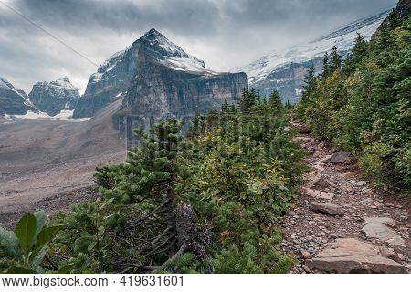 Lefroy Peak In Canadian Rockies On A Cloudy Day. Mt.lefroy Viewed From The Plain Of Six Glaciers Tra