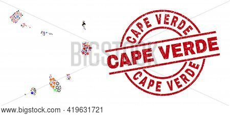 Cape Verde Islands Map Mosaic And Rubber Cape Verde Red Circle Stamp Imitation. Cape Verde Stamp Use