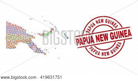 Papua New Guinea Map Mosaic And Grunge Papua New Guinea Red Circle Stamp Imitation. Papua New Guinea