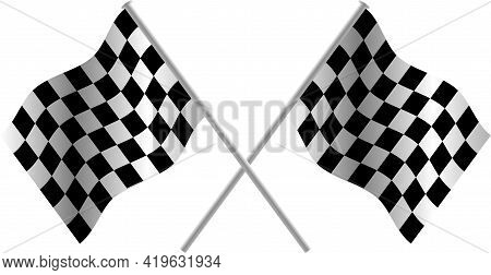 Checkered Flag 3d Crossed Pair Vector. Waving Checker Flags To Crown A Champion Or The Winner Of A R