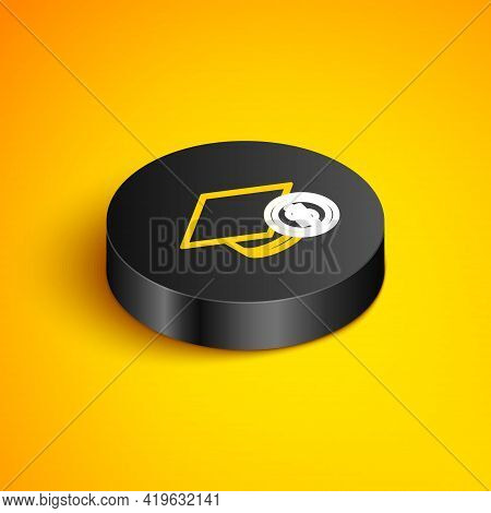 Isometric Line Graduation Cap And Coin Icon Isolated On Yellow Background. Education And Money. Conc