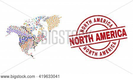 North America Map Mosaic And Unclean North America Red Circle Stamp. North America Stamp Uses Vector