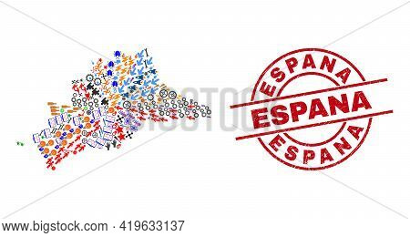 Malaga Province Map Collage And Textured Espana Red Round Badge. Espana Badge Uses Vector Lines And