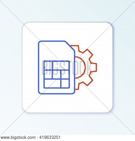 Line Sim Card Setting Icon Isolated On White Background. Mobile Cellular Phone Sim Card Chip. Mobile