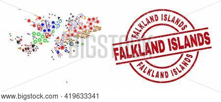 Falkland Islands Map Collage And Scratched Falkland Islands Red Circle Stamp. Falkland Islands Stamp