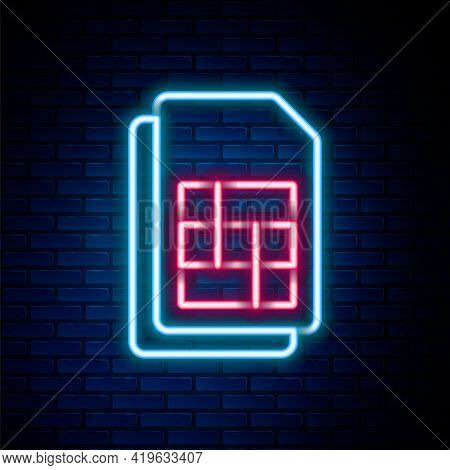 Glowing Neon Line Sim Card Icon Isolated On Brick Wall Background. Mobile Cellular Phone Sim Card Ch