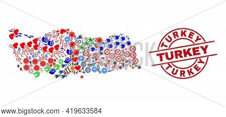 Turkey Map Collage And Grunge Turkey Red Circle Stamp Seal. Turkey Stamp Uses Vector Lines And Arcs.