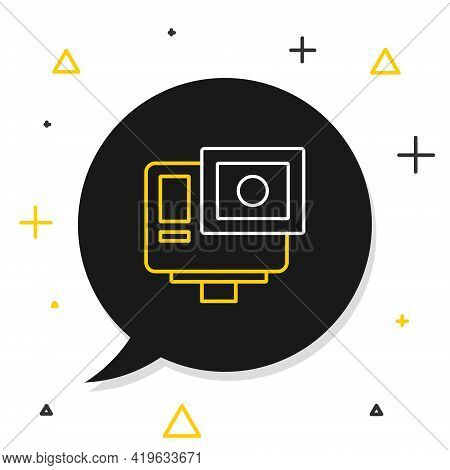Line Action Extreme Camera Icon Isolated On White Background. Video Camera Equipment For Filming Ext