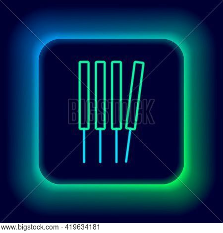 Glowing Neon Line Aroma Sticks, Incense, Aromas Icon Isolated On Black Background. Colorful Outline