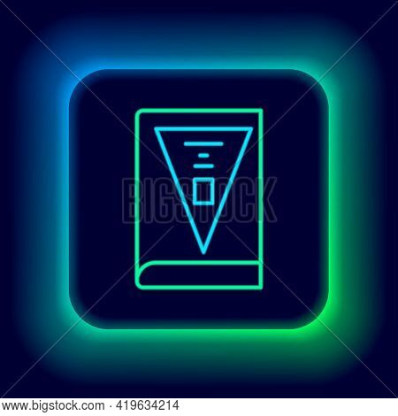 Glowing Neon Line 26 November India Constitution Day Icon Isolated On Black Background. Colorful Out